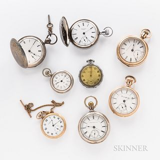 "Eight American Open-face and Hunter-case Watches, a key-wind, key-set ""Home Watch Co., Boston"" in coin silver hunter case; three Hampde"