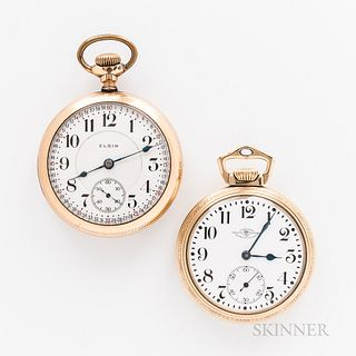 """Two American Open-face Watches, a Ball Watch Co. Official Standard 23-jewel, no. B601870; and an Elgin 23-jewel """"Veritas,"""" no. 15475330"""