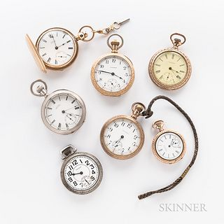 Seven American Waltham Watch Co. Watches. a P.S. Bartlett key-wind, key-set, engraved gold-filled hunter-case watch with original watch