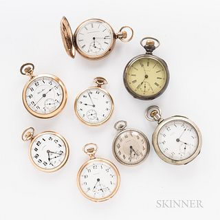 Eight American Pocket Watches, 15- and 17-jewel movements, all in gold-filled cases.