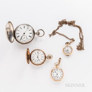 """Four American Pocket Watches, 18 size """"New Era"""" in a coin silver hunter-case; 14kt gold open-face Waltham 15-jewel watch; Elgin 14kt go"""
