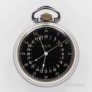 """Hamilton """"4992B"""" Navigation Watch, black 24-hour dial, damascened plates marked """"22 Jewels/Adj. Temp. and 6 Positions,"""" case back engra"""