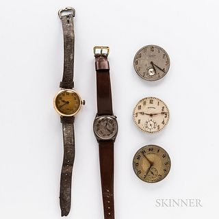 Two American Wristwatches and Three Pocket Watch Movements, Illinois and Elgin wristwatches in gold-filled cases, a Hamilton 910 moveme