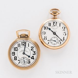 """Two Waltham Watch Co. Open-face Watches, arabic numeral 23-jewel """"Vanguard,"""" and a 23-jewel watch with arabic numeral dial and up/down"""