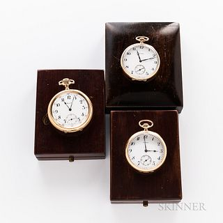 Three Howard & Co. Open-face Watches, 17-jewel movement no. 328841 in a 14kt gold case; and two other 17-jewel watches in gold-filled c