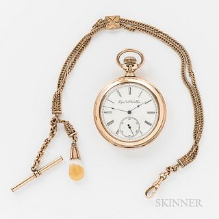 """Elgin Gold-filled Open-Face Watch and Chain, no. 5412523, roman numeral enameled dial marked """"Elgin Nat'l. Watch Co."""" with sunk seconds"""