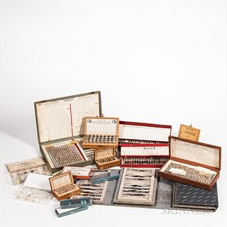 Collection of Watchmaker's and Clockmaker's Parts, cased Seiko spring bars, and stems, Seiko portfolio with several leather wristwatch