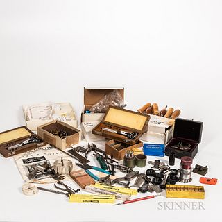 Collection of Watchmaker's and Clockmaker's Tools, Bulova wristwatch case openers, crystal lift, case wrenches, and openers, screwdrive