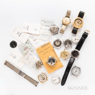 Collection of Rolex, Omega, and Bulova Watch Parts and Wristwatches, stainless steel Rolex 6222 and 6564 cases, Rolex sapphires, and ga
