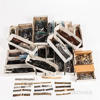 Large Collection of Wristwatch Leather Bands, and Bracelets, assorted sizes.