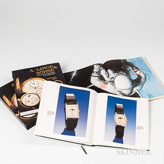 Three Wristwatch Reference Books, Omega's Saga, c. 1998; A. Lange & Sohne, The Watchmakers of Dresden, c. 1997; and Audemars Piguet, c.