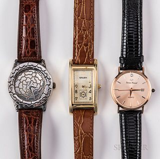 Three Contemporary Wristwatches, a 14kt rose gold Lucien Piccard; a sterling Silver John Hardy for Alfex of Switzerland; and a Gruen, d