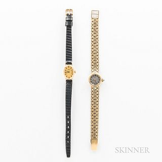 Two 14kt Gold Lady's Wristwatches, a silvered dial Doxa with 17-jewel, caliber 03, manual-wind movement on a 14kt gold bracelet, and a