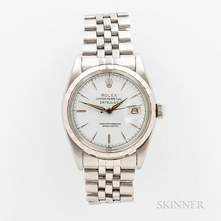 """Rolex Stainless Steel Reference 6605 Wristwatch, c. 1957, lacquered white dial with applied indices, marked """"Swiss,"""" signed crown, 25-j"""