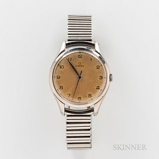 """Omega Stainless Steel """"Jumbo"""" Reference 2506-5 Wristwatch, nicely aged dial with applied arabic numerals, blued sweep center seconds ha"""