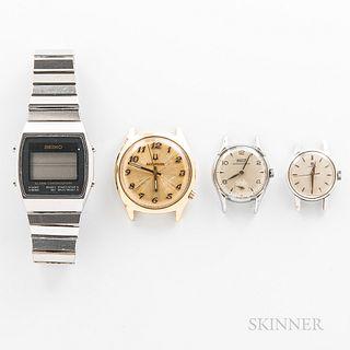 Four Vintage Wristwatches, Seiko digital alarm chronograph with signed bracelet; gilt Bulova Accutron with sunburst dial; lady's Tissot