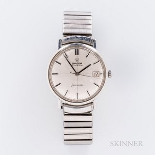 Omega Stainless Steel Seamaster Crosshair Dial Wristwatch, c. 1960s, silvered dial with onyx and silver indices, applied logo, center s