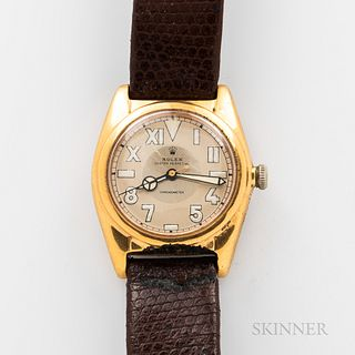 """Rolex """"Bubble Back"""" Reference 2764 Wristwatch, gold-filled case with repainted California dial marked """"Rolex Oyster Perpetual/Chronomet"""