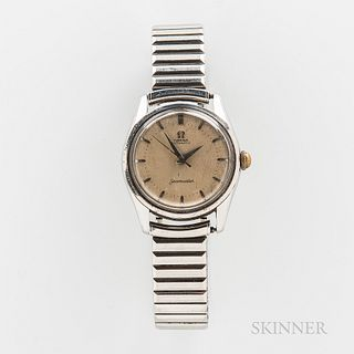 Omega Seamaster Reference 2869 Wristwatch, c. 1950s, stainless steel case with silvered dial, dauphin hands, and applied logo, snap-bac