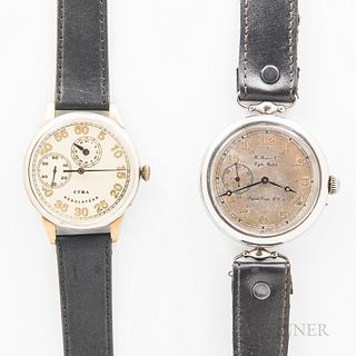 """Two Vintage Pilot's Wristwatches, H. Moser & Co. base metal case with silvered dial marked """"H. Moser & Co. Cytis Watch/Signal Corps. U."""