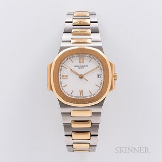 Single-owner Two-tone Patek Philippe Nautilus Reference 3800/001 Wristwatch, c. 1997, 18kt gold and stainless steel case and bracelet,
