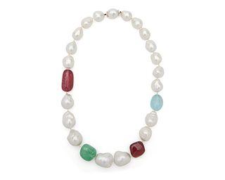 SEAMAN SCHEPPS 18K Gold, Baroque Pearl, Tourmaline, Emerald, and Aquamarine Necklace