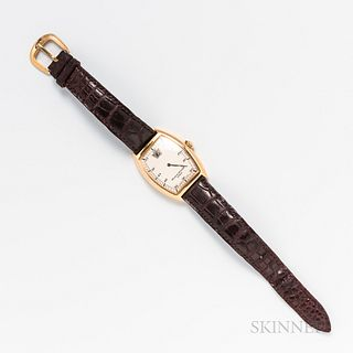 Franck Muller 18kt Gold Cintree Curvex Reference 7500 SC Jump Hour Wristwatch, c. 1993, no. 08, silvered dial with red arabic numeral m