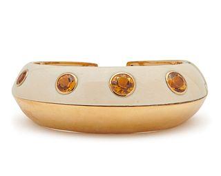SEAMAN SCHEPPS 18K Gold, Mammoth Tusk, and Citrine Cuff Bracelet