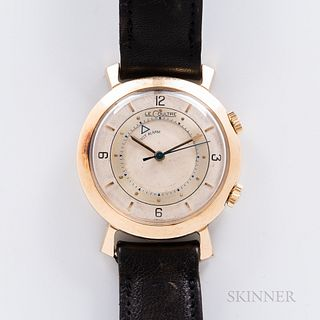 LeCoultre Memovox Reference 9386 Wristwatch, c. 1950, 10kt gold-filled case with typical flared lugs, dual signed crowns, ivory-tone di