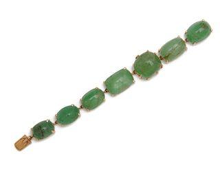 "SEAMAN SCHEPPS 14K Gold and Emerald ""Pebble"" Bracelet"