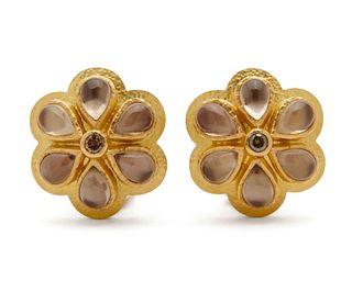 ELIZABETH LOCKE 18K Gold, Moonstone, Mother-Of-Pearl, And Diamond Earclips