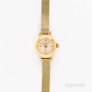 Cortebert 18kt Gold Wristwatch, silvered dial with applied and printed indices, 6-jewel ETA 578.004 quartz movement, on an 18kt gold me