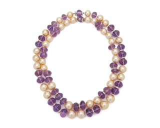 SEAMAN SCHEPPS 18K Gold, Pearl, Amethyst, and Diamond Nesting Necklaces