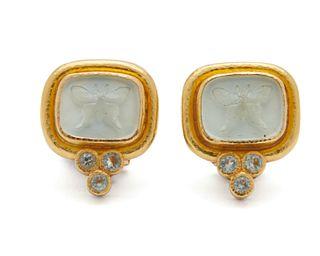 ELIZABETH LOCKE 18K Gold, Glass Intaglio, Mother-of-Pearl, and Aquamarine Earclips