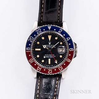 """Rolex GMT Master Reference 1675 Wristwatch, c. 1976, polished stainless steel case with red and blue """"Pepsi"""" aluminum bezel insert, Swi"""