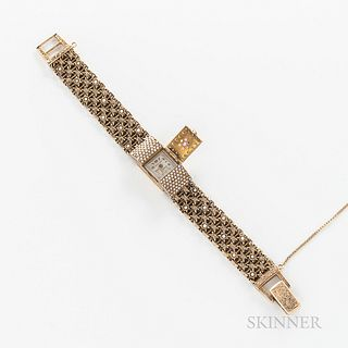 Dumont 14kt Gold Gem-set Wristwatch, hinged dial lid with inset pearls, diamonds, and amethyst, with pearl-set bezel, linked chain brac