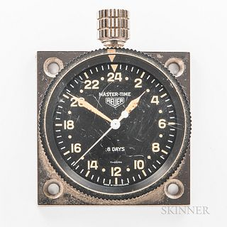 """Heuer Master-Time 24-hour Clock, c. 1968, no. 22869, bidirectional rotating bezel with triangular marker, black dial marked """"Master-Tim"""