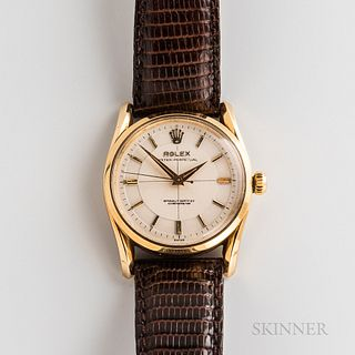 Rolex 14kt Gold Reference 6590/6593 Wristwatch, c. 1955, Bombay lugs, screw-down Oyster crown, ivory-tone cross-hair dial, dauphine han