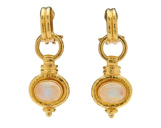 ELIZABETH LOCKE 18K Gold and Moonstone Pendant Earclips