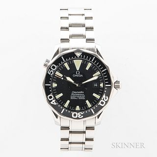 Omega Seamaster Professional 300M Reference 168-1640 Wristwatch, c. 2000s, stainless steel case with unidirectional bezel with scallope
