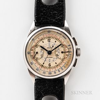 Early Jaeger Stainless Steel Chronograph Wristwatch, c. 1940, snap-on bezel, original silver-colored dial, with multicolored tele- and