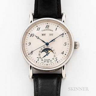 Chronoswiss Triple Calendar Reference CH 9323 Wristwatch, stainless steel case with engine-turned arabic numeral silvered dial, Breguet