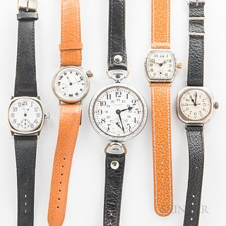 Five Waltham Wristwatches, 15-jewel converted pocket watch with display back, an offset crown roman numeral dial watch, and three other