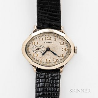 """Illinois Watch Co. """"Piccadilly"""" Wristwatch, 14kt gold-filled plain bezel case, 17-jewel manual-wind movement, dia. 36 mm."""