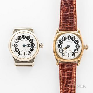 """Two Illinois Watch Co. """"Telephone"""" Wristwatches, one in a nickel case with bent lugs, the other in a 14kt gold-filled case, both with b"""