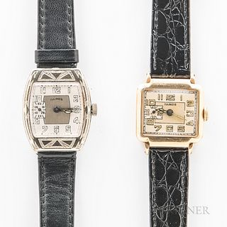 """Two Illinois Watch Co. Wristwatches, a """"New Yorker"""" in a gold-filled case, 17-jewel manual-wind movement; and a """"Chieftain"""" in a 14kt g"""