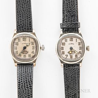 """Two Illinois Watch Co. """"Guardsman"""" Wristwatches, both in white gold-filled plain bezel cases, silvered arabic numeral dials, 17-jewel m"""
