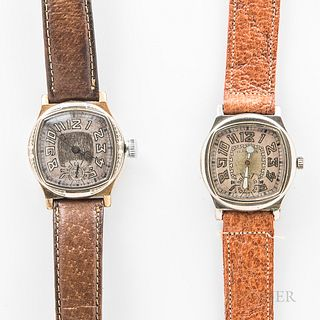 "Two Illinois Watch Co. ""Major"" Wristwatches, a two-tone example with engraved bezel, the other with a plain bezel, both with two-tone a"