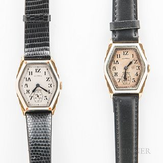 "Two Illinois Watch Co. ""Ritz"" Wristwatches, both in two-tone cases with Art Deco-style arabic numerals, blued syringe hands, and subsid"