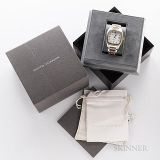David Yurman Two-tone Automatic Wristwatch, stainless steel and gold case with white dial with date at 3, blue sapphire crown, display